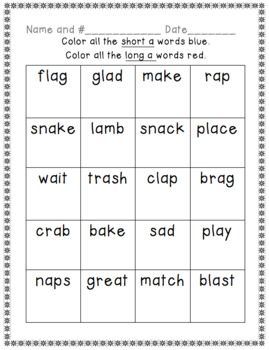 Short and Long Vowel Color Sort