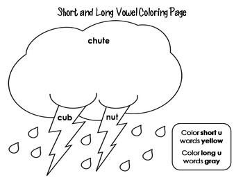 Short and Long Vowel Coloring Worksheets- Spring Theme