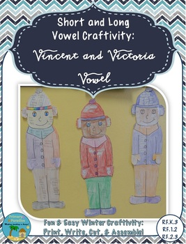 Vowel Craftivity (Short and Long Vowels): Vincent and Victoria Vowel
