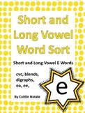 Short and Long Vowel E Word Sort
