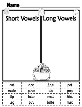 Short and Long Vowel Easter Activity