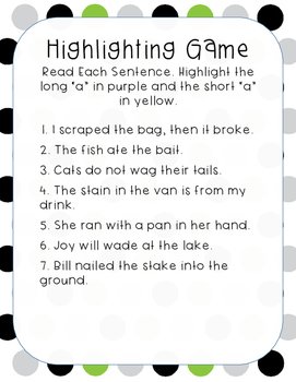 Short and Long Vowel Highlighting Game