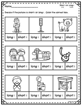 Short and Long Vowel I Sorting: CVC and CVCE Worksheets and Activities