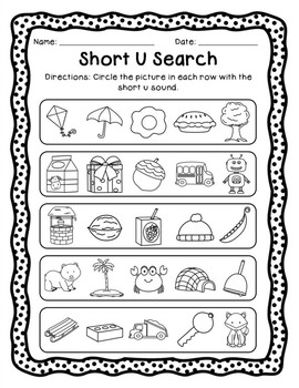 Short and Long Vowel Pack - Letter U