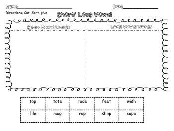 Short and Long Vowel Pattern Sorts Set