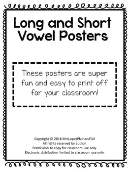 Short and Long Vowel Posters