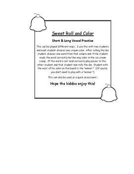 Short and Long Vowel Roll, Read and Color