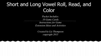 Short and Long Vowel Roll, Read, and Color games