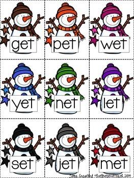 Short and Long Vowel Game: Snowmen SPLAT Bundle