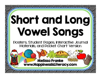 Short and Long Vowel Songs: Posters, Interactive Journals