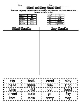 Short and Long Vowel Sort
