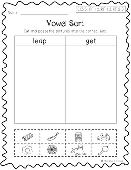 Short and Long Vowel Sort Ee {Common Core Aligned}