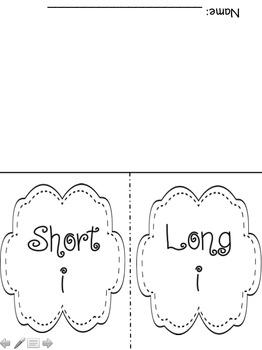 Short and Long Vowel Sort Flip book!  NO PREP!