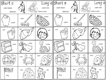 Short and Long Vowel Sort Journals K-1st