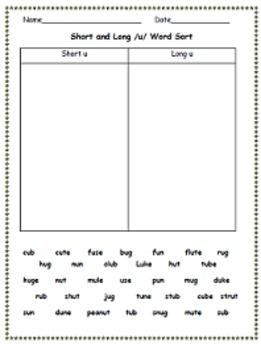 Short and Long Vowel Sort - /u/