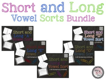 Short and Long Vowel Sorts/Centers and Worksheets BUNDLE!