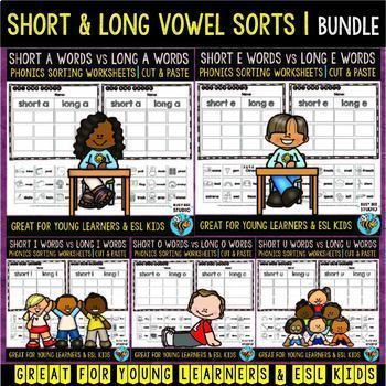 Short and Long Vowel Sorts | Cut and Paste Worksheets | Bundle