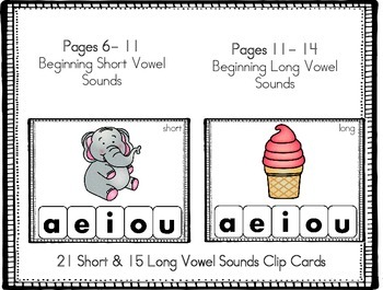 Short and Long Vowel Sound Clip Cards