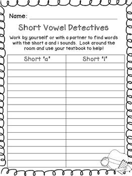 Short and Long Vowel Sound Hunt