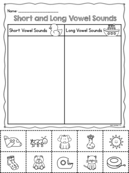 Short and Long Vowel Sounds Sorts