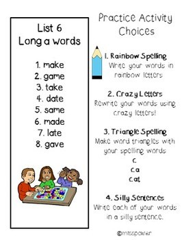 Short and Long Vowel Spelling Lists