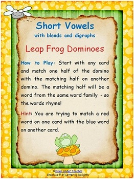 Short and Long Vowel Word Family Dominoes