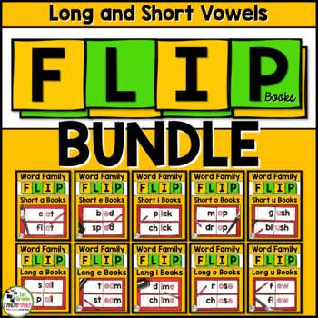 Short and Long Vowel Word Family Flip Books Big BUNDLE