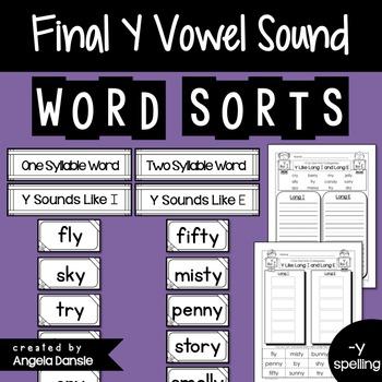 Short and Long Vowel Word Sort (Final Y)