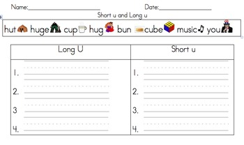 Short and Long Vowel Word Sort (Uu)
