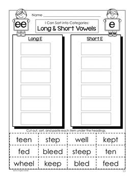 Short and Long Vowel Word Sort (ee)