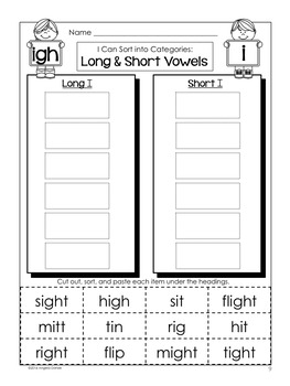 Short and Long Vowel Word Sort (igh)