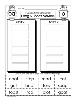 Short and Long Vowel Word Sort (oa)