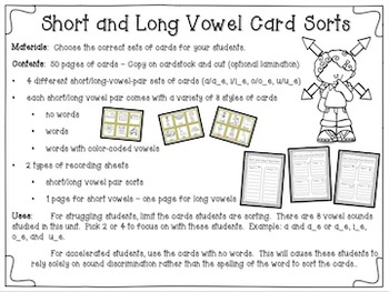 Short and Long Vowel Word Work Bundle