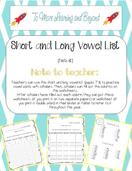 Short and Long Vowel Worksheets Including List of Words