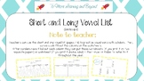Short and Long Vowel Worksheets Including List of Words (Landscape version)