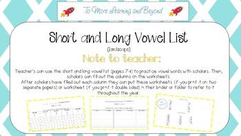 Short and Long Vowel Worksheets Including List of Words (Landscape version)