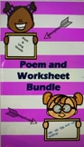 Short and Long Vowel, ew, ue, ing and ed ending Poems and Worksheets Bundle
