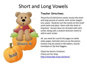 Short and Long Vowels-Fall Theme