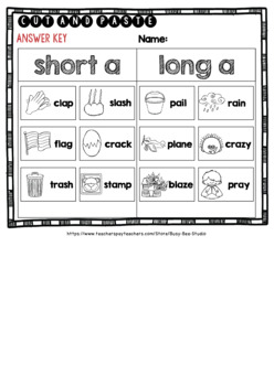 Short and Long Vowels Sort | Short A or Long A Worksheets