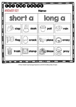 Short and Long Vowels Sort | Short A or Long A Worksheets