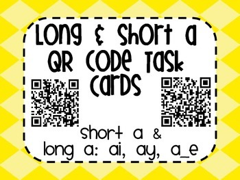 Short and Long a QR Code Task Card Activity