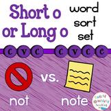 Short and Long o Word Sort Set