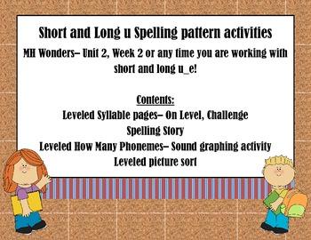 Short and Long u Spelling Application Activity- MH Wonders- Unit 2, Week 2
