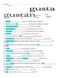 Short and Sweet Spanish Gustar Worksheet