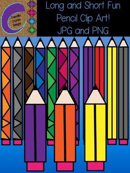 Short and Tall Fun Pencil Clip Art Color Images
