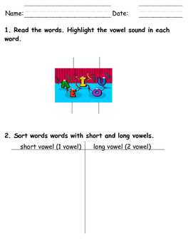 Short and long vowel sorting board