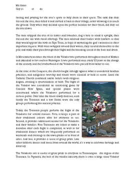 Short article and comprehension questions for Los Voladores de Papantla