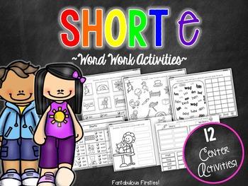 Short e CVC Word Work Activities