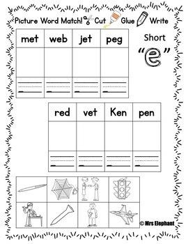 Short e Activities and Worksheets (cvc, ccvc)