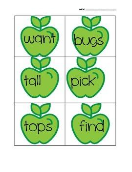 Short e Apples Word Sort Activity